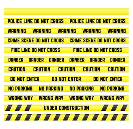 scene of a crime: Main warning signs with a blank tape to create your own. Tapes are made so that it was easy to make a pattern of any size.  Stock Photo