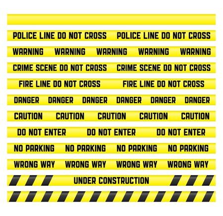 cintas: Signos de advertencia principal con una cinta en blanco para crear su propia. Las cintas se realizan por lo que es f�cil hacer un patr�n de cualquier tama�o.  Foto de archivo