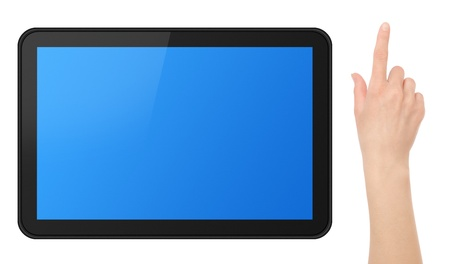 Interactive Touch Screen Tablet with female hand. photo