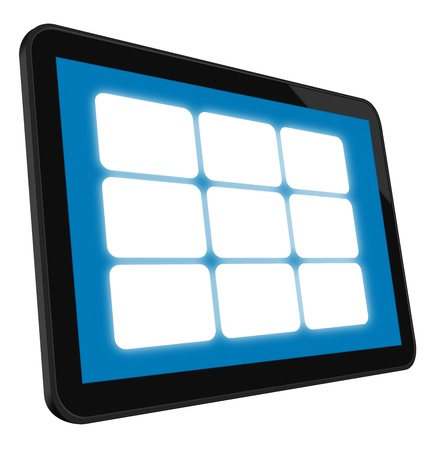 LCD Touch Screen Tablet with 9 empty frames. Stock Photo - 9356765