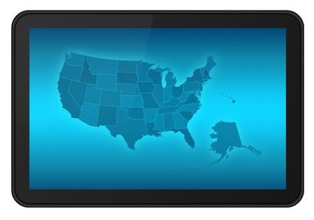 LCD Touch Screen Tablet with USA States Map, also Alaska and Hawaii.  photo