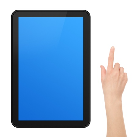 Interactive Touch Screen Tablet with female hand.   Stock Photo - 9356773