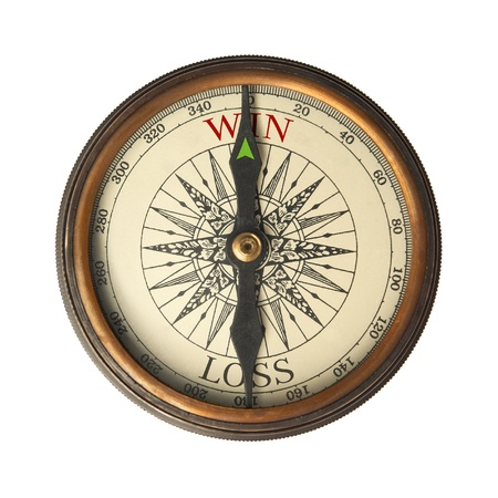 Compass guides to win. Isolated on white. photo