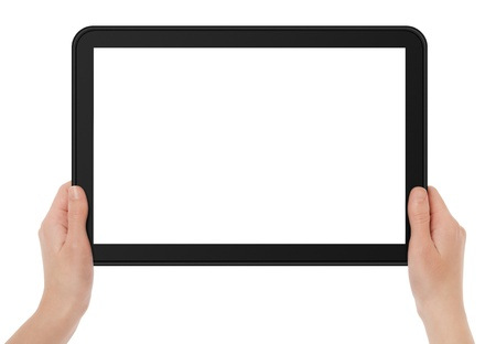 pad: Female hands holding touch screen tablet.