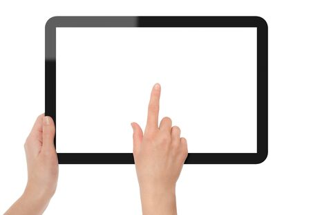 touch screen computer: (outer with hand, inner white, point hand). Isolated on white. XXXL size, ultra quality.