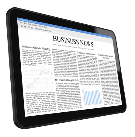ereader: Business News on Tablet PC  Stock Photo