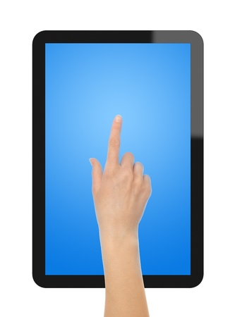 Touching on Tablet PC. Stock Photo - 9565879