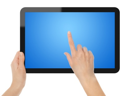 Holding and Pointing on Tablet PC. Isolated on white. XXXL size, ultra quality.
