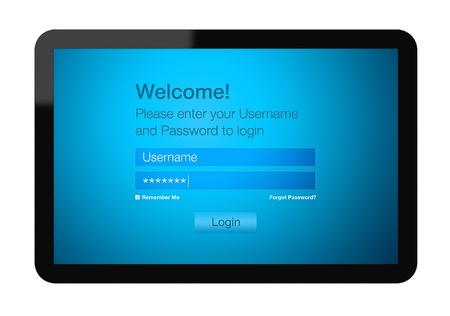 Welcome Screen On Tablet Pc. Login procedure entrance on touch screen tablet. photo