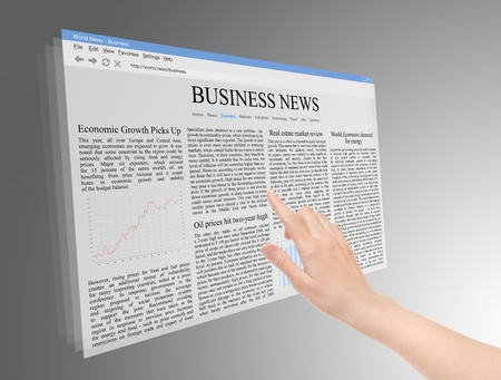 business news: Future screen concept with business news on web page.  Stock Photo