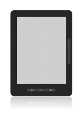 ���clipping path���: Portable e-book reader of my own design with two clipping path for book and screen. You may add your own text or picture. XXXL size, ultra quality. Isolated on white. Stock Photo
