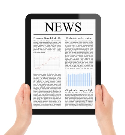 Female hands holding touch screen tablet with business news on screen. Include 2 clipping path for screen and tablet with hands. Isolated on white. XXXL size, ultra quality. photo