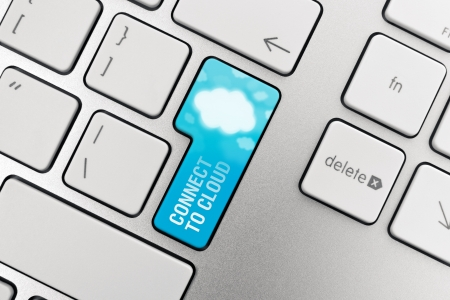 Connect to cloud computing concept showing on computer key photo