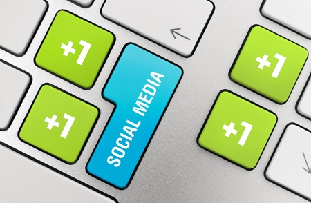 Social media concept on modern aluminium keyboard. photo