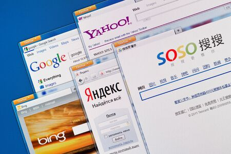 Kiev, Ukraine - June 13, 2011 - Search engine web sites on a computer screen, including Google, Yahoo, Bing, Yandex and Soso. These search engine web sites the most visited and popular in the world.