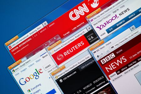 Kiev, Ukraine - June 13, 2011 - Top news web sites - CNN, Google News, Reuters, Yahoo News, BBC and CBS News in Firefox browsers on a computer screen. These news web sites the most visited and popular in the world. Stock Photo - 9726078