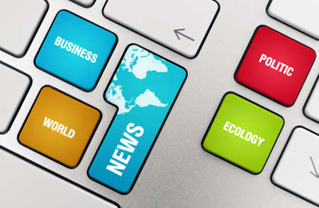 News concept on modern aluminium keyboard. Stock Photo - 9767375
