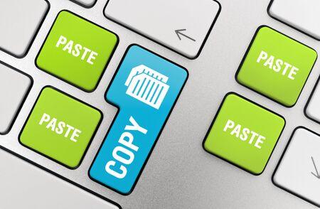 copy paste: Copy - Paste concept on modern aluminum keyboard.