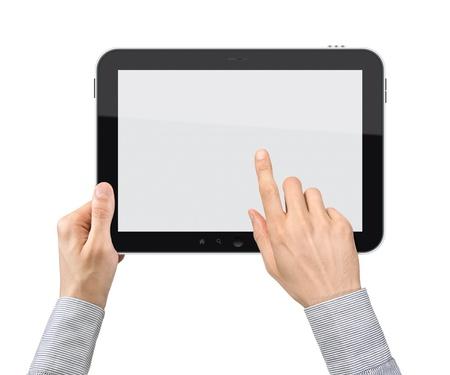 実業家の手を保持しているし、タッチ スクリーン デバイス。白で隔離されます。