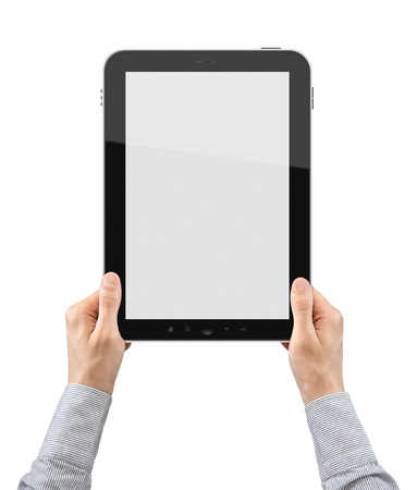 Businessman hands are holding the touch screen device. Vertical composition. Isolated on white. Stock Photo - 10030202