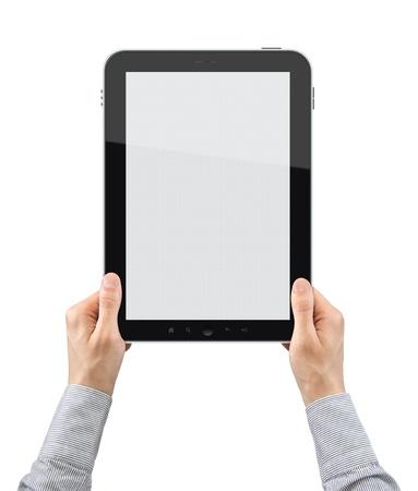 composition vertical: Mani d'affari in mano il dispositivo touch screen. Composizione verticale. Isolato su bianco. Archivio Fotografico
