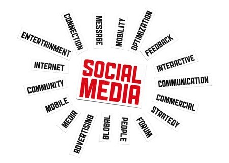 Social network sign. Cut pieces of paper with text on social media theme. Isolated on white. Stock Photo - 10030204