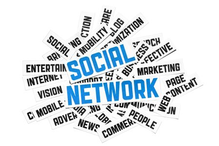 Social network sign. Cut pieces of paper with text on social network theme. Isolated on white. photo