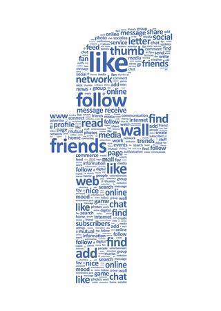 seguito: Illustrazione della lettera F, che si compone di parole su temi di mezzi di comunicazione sociale. Isolated on white. Archivio Fotografico