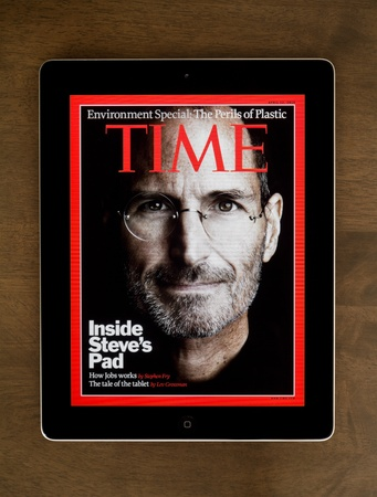ipad2: Kiev, Ukraine - October 29, 2011: Steve Jobs, founder of Apple Computers, posted on the cover of Time magazine for April 12, 2007.