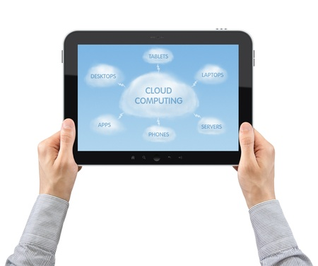 file share: Businessman hands are holding the digital tablet with illustration on cloud computing theme.  Isolated on white. Stock Photo