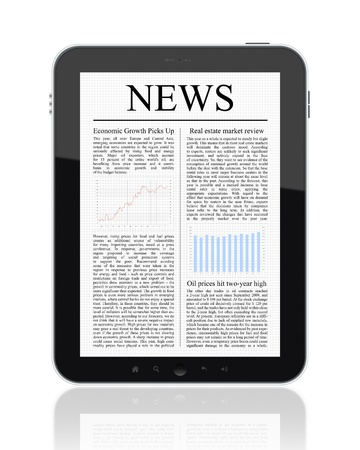 Business news on Tablet PC. Isolated on white. Stock Photo - 11225127
