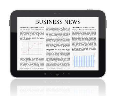 business news: Business news on Tablet PC. Isolated on white.