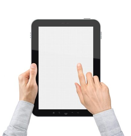 Hands of a businessman working with a digital tablet. Isolated on white.