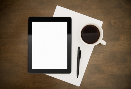 Blank digital tablet with paper, pen and cup of coffee on worktable. Stock Photo - 11430706