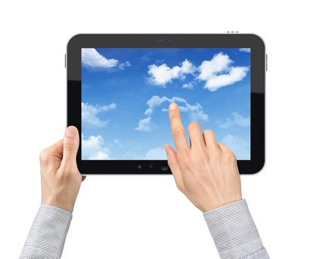 input devices: Businessman hands are holding and point on contemporary tablet pc with cloudscape on screen. Concept on cloud-computing theme. Isolated on white. Stock Photo