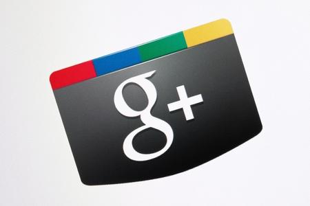 Kiev, Ukraine - December 8, 2011: Closeup shot of Google+ social button logo on a monitor screen. Google+ is a one of most popular social networking service development by Google Inc.