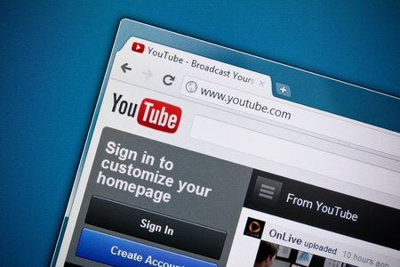 Kiev, Ukraine - December 8, 2011: Google inc. has officially released brand new design of YouTube homepage in December 1, 2011. YouTube is a largest and most visited video-sharing website, has founded in February 14, 2005.