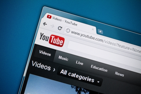 Kiev, Ukraine - December 8, 2011: Google inc. has officially released brand new design of YouTube homepage in December 1, 2011. YouTube is a largest and most visited video-sharing website, has founded in February 14, 2005. Stock Photo - 11502120