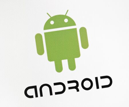 Kiev, Ukraine - December 15, 2011 - Close-up view of Google Android sign on a monitor screen. Android is a operation system for mobile devices like smartphones or tablet pc. Development by Open Handset Alliance and Google inc. Stock Photo - 11542904