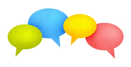 Concept image on communication theme with bright colored speech bubbles. Isolated on white. photo