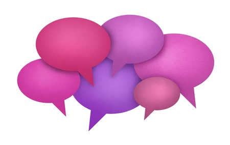 Concept image on communication theme with bright colored speech bubbles. Isolated on white. Stock Photo - 11840004