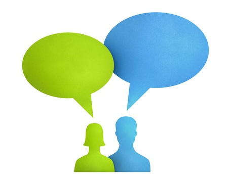Concept image on communication theme between people used bright colored speech bubbles. Isolated on white. Stock Photo