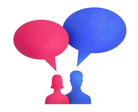 Concept image on communication theme between two people used bright colored speech bubbles. Isolated on white. photo