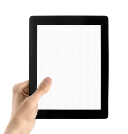 Man hands are holding electronic tablet with blank screen. Isolated on white. photo