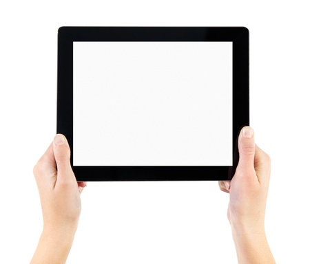 electronic tablet: Woman hands holding electronic tablet pc with blank screen. Isolated on white. Stock Photo