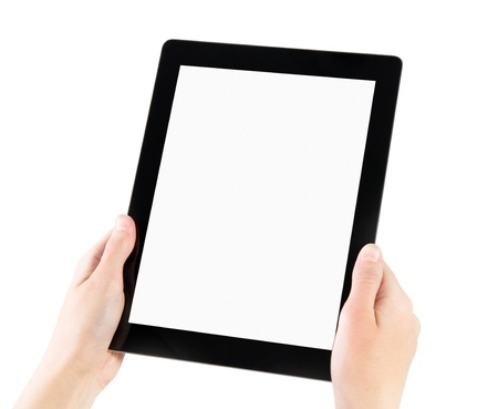 Woman hands holding electronic tablet pc with blank screen. Isolated on white. Stock Photo - 11840014