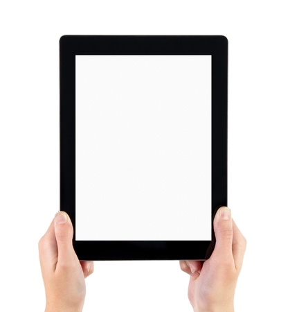 Woman hands holding electronic tablet pc with blank screen. Isolated on white. photo
