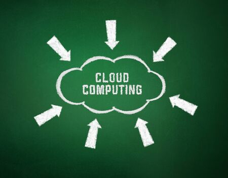 Conceptual picture on cloud computing theme. Drawing on textured background. photo