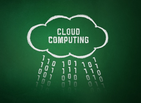 Conceptual picture on cloud computing theme. Drawing on textured background. Stock Photo - 11913911