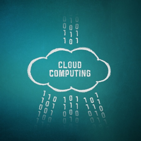 network server: Conceptual picture on cloud computing theme. Drawing on textured background.